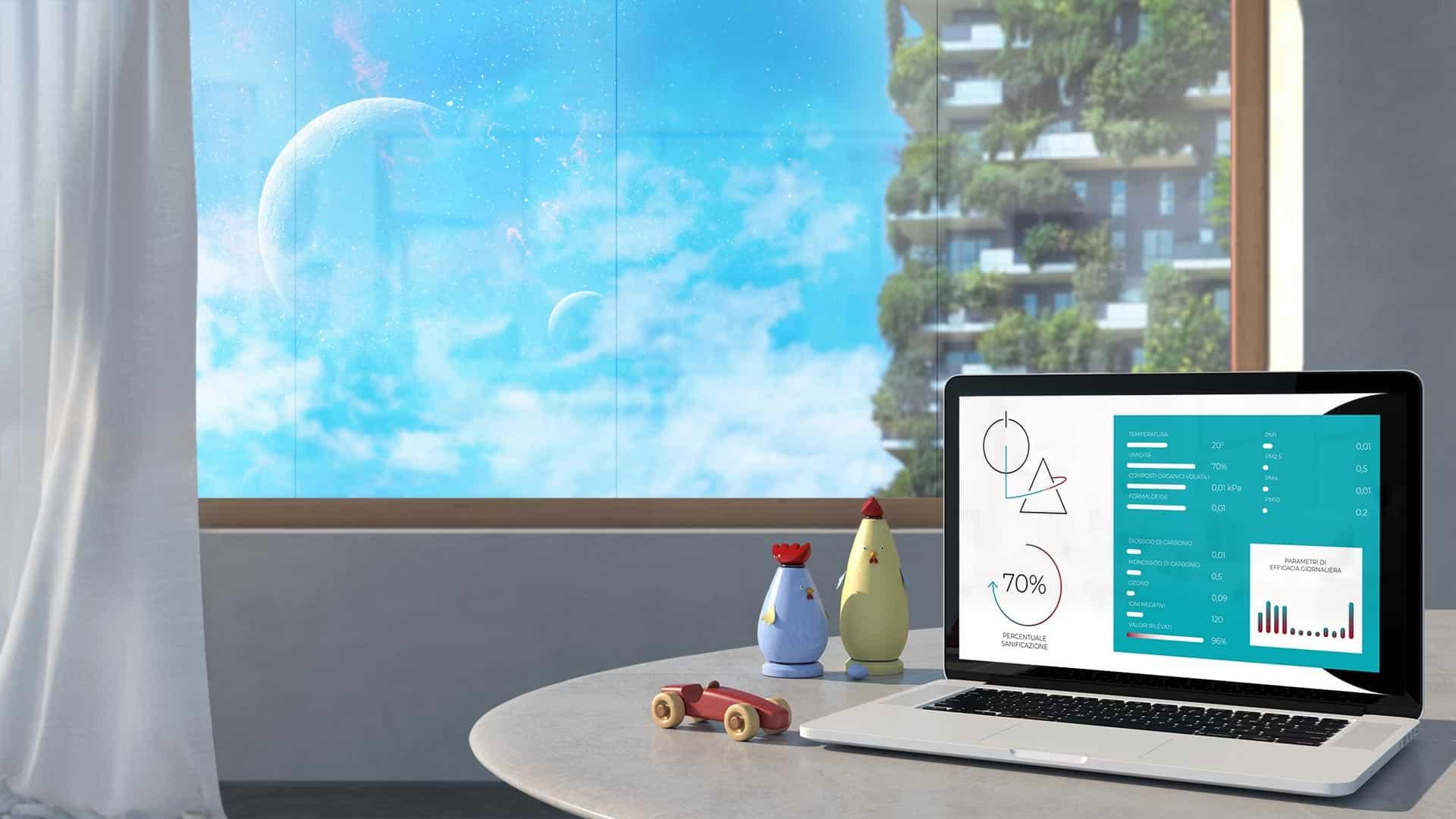 Immagine di una stanza con un tavolino, dei giocattoli e un laptop