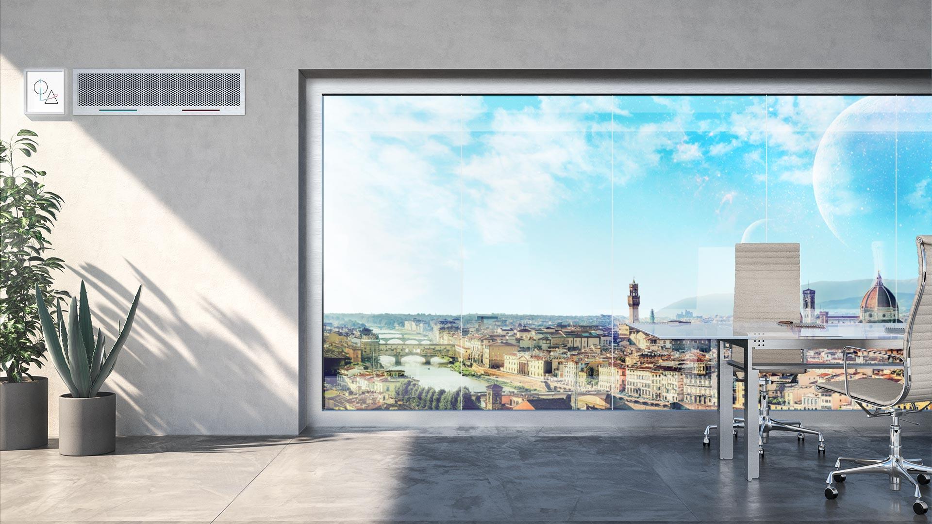 Immagine di una stanza d'ufficio con una finestra su una città del futuro. Nella stanza c'è un climatizzatore per esprimere l'idea della sanificazione attraverso sistemi di areazione e climatizzazione.