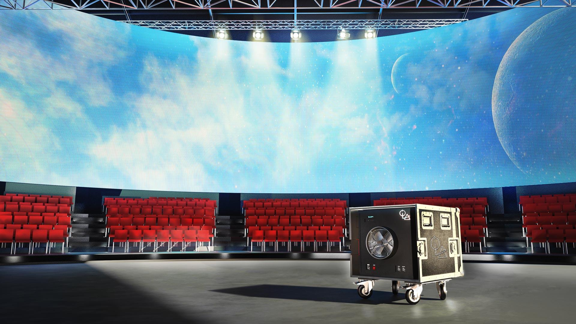 Immagine di un teatro o studio televisivo con al centro un box portatile della linea ROLL